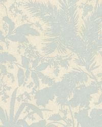 Fauna Blue Silhouette Leaves Wallpaper by
