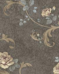 Gracie Grey Floral Scroll Wallpaper by