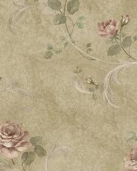 Gracie Brown Floral Scroll Wallpaper by