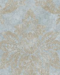 Giles Ocean Patina Damask Wallpaper by