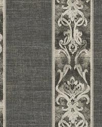 Elsa Black Alternating Damask Stripe Wallpaper by