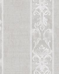Elsa Stone Alternating Damask Stripe Wallpaper by