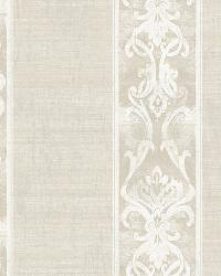 Elsa Off-White Alternating Damask Stripe Wallpaper by
