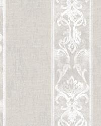 Elsa Taupe Alternating Damask Stripe Wallpaper by