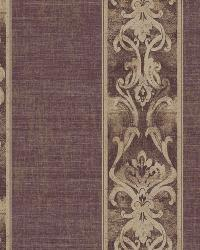 Elsa Blackberry Alternating Damask Stripe Wallpaper by