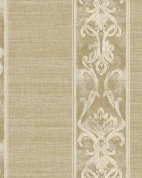 Elsa Gold Alternating Damask Stripe Wallpaper by