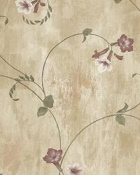 Shiva Gold Trumpet Floral Vine Wallpaper by