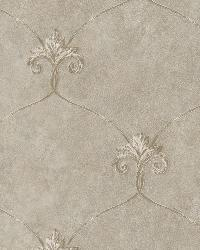 Tuscan Taupe Shimmering Ogee Wallpaper by