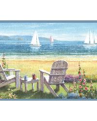Regatta Blue Seaside Cottage Portrait Border by