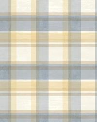 Joshua Blue Sunday Plaid Tartan Wallpaper by  Brewster Wallcovering