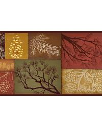 Monde Red Pinecone Branch Collage Border by