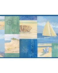 Nantucket Blue Coastal Breeze Collage Border by