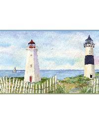 Eugene Light Blue Coastal Lighthouse Portrait Border by