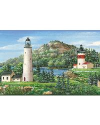 Gilead Green Lake Lighthouse Portrait Border by