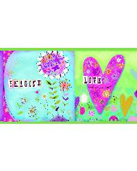Lennon Pink Imagine Peace Block Border by