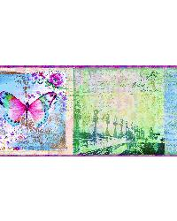 Worldly Pink Bon Voyage Butterflies Border by