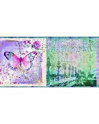 Worldly Purple Bon Voyage Butterflies Border by
