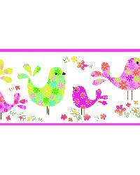 Partridge Pink Calico Birdies Toss Border by