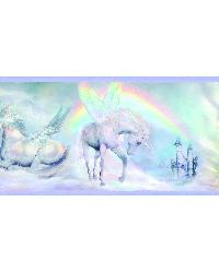 Farewell Blue Unicorn Dreams Portrait Border by