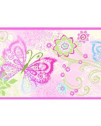 Fantasia Pink Boho Butterflies Scroll Border by