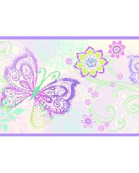 Fantasia Purple Boho Butterflies Scroll Border by