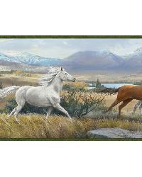 Sally Blue Wild Horses Portrait Border by