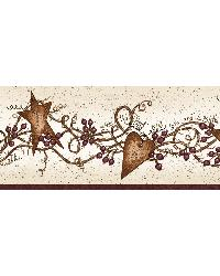Sassafras Red Curly Stars Trail Border by