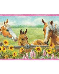 Harmony Pink Horses Sunflowers Portrait Border by