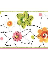 Butterbean Pink Crazy Daisies Toss Border by