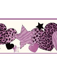 Diva Purple Cheetah Hearts Stars Border by