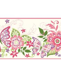 Kendra Pink Butterflies Blooms Trail Border by