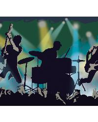 Jagger Blue Rock Show Silhouette Border by