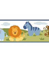 Simba White Jungle Safari Cartoons Border by