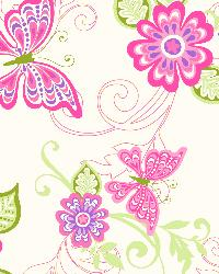 Paisley Pink Butterfly Flower Scroll Wallpaper by