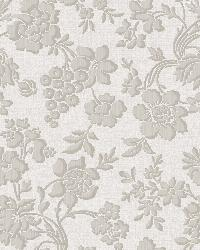 Stria Grey Floral Toss Wallpaper by