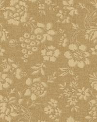 Stria Gold Floral Toss Wallpaper by