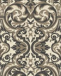 Guinevere Black Baroque Marquetry Wallpaper by