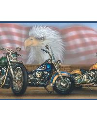 Bush Blue Americana Motorcycles Portrait Border  by
