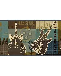 Halen Moss Guitar Collage Portrait Border  by