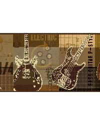 Halen Brown Guitar Collage Portrait Border  by