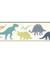 Dino Mighties Blue Dinosaur Toss Border  by