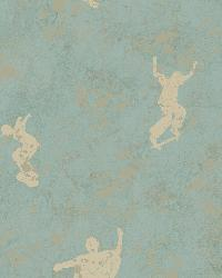 Sheen Light Blue Skaters Toss Wallpaper by