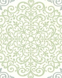 Cassidy Mint Medallion Damask by