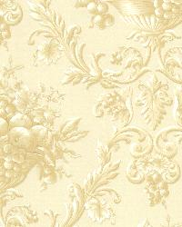 Marta Cream Orchard Ogee Wallpaper by  Brewster Wallcovering
