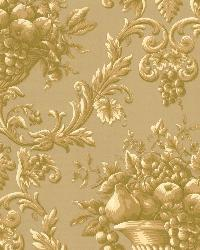 Marta Gold Orchard Ogee Wallpaper by  Brewster Wallcovering
