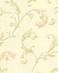 Sylvia Cream Ornate Scroll Wallpaper by  Brewster Wallcovering