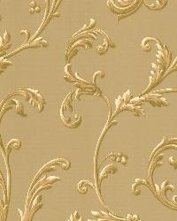 Sylvia Gold Ornate Scroll Wallpaper by  Brewster Wallcovering