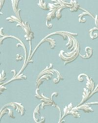 Sylvia Blue Ornate Scroll Wallpaper by  Brewster Wallcovering