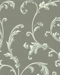 Sylvia Silver Ornate Scroll Wallpaper by  Brewster Wallcovering