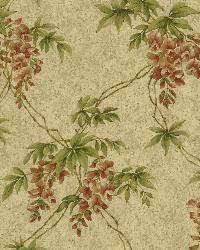 Annabelle Wheat Floral Toile Wallpaper by  Brewster Wallcovering